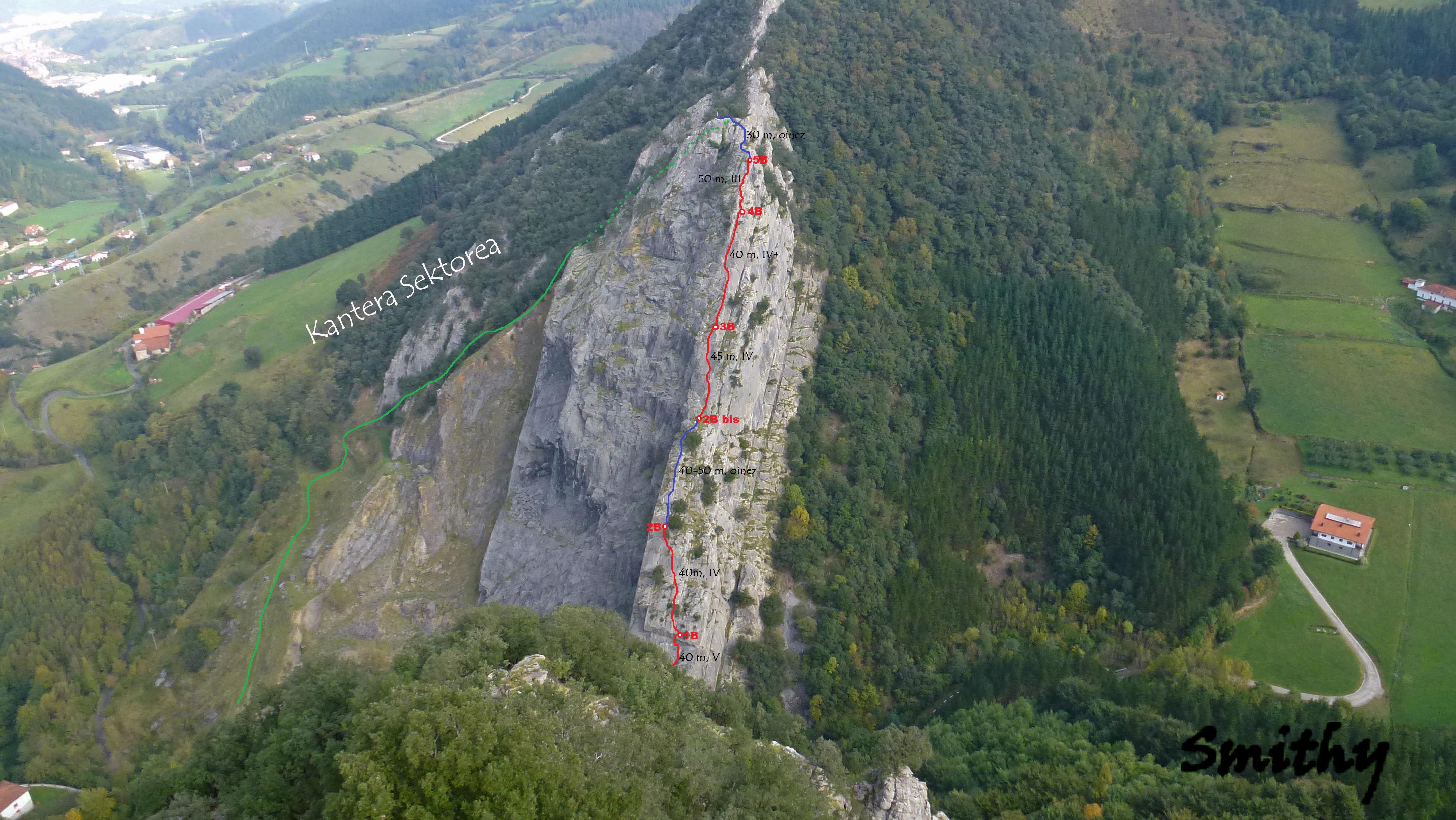 Jentilbaratza (465 m), Hego-mendebaldeko gandorratik, 260 m, V